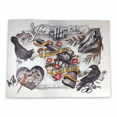 honeyhoney - Tattoo Flash Print - Signed