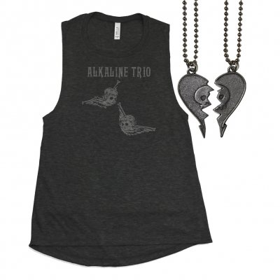 alkaline-trio - Womens Cherub Tank / Heartskull Friendship Necklace Bundle