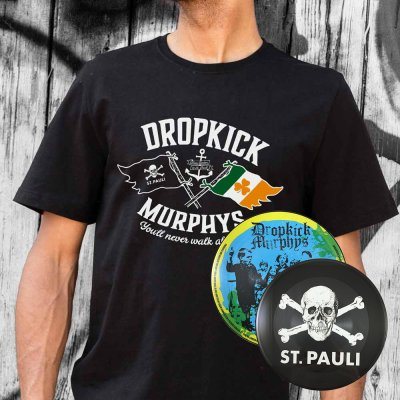 "Dropkick Murphys - FCSP x Dropkick Murphys Collab Tee (Black) + I'll Never Walk Alone 7"" (Pic Disc) Bundle"