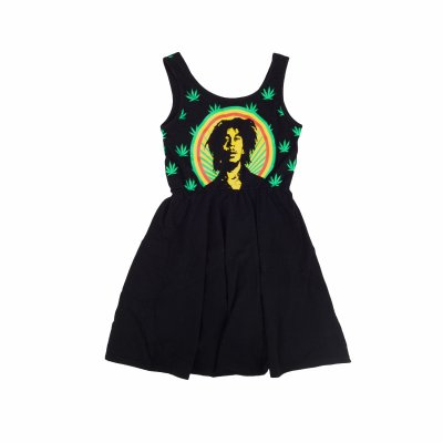Bob Marley - Pot Leaves Tank Dress (Black)