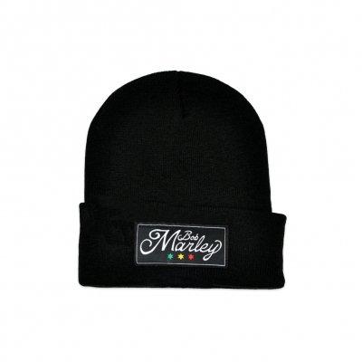 Bob Marley - Script Logo Cuffed Beanie (Black)