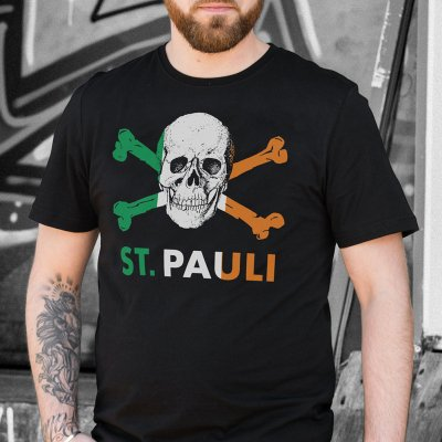 fc-st-pauli - Irish Skull & Crossbones T-Shirt