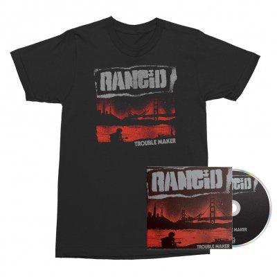 Rancid - Trouble Maker CD/Album Cover Tee (Black) Bundle