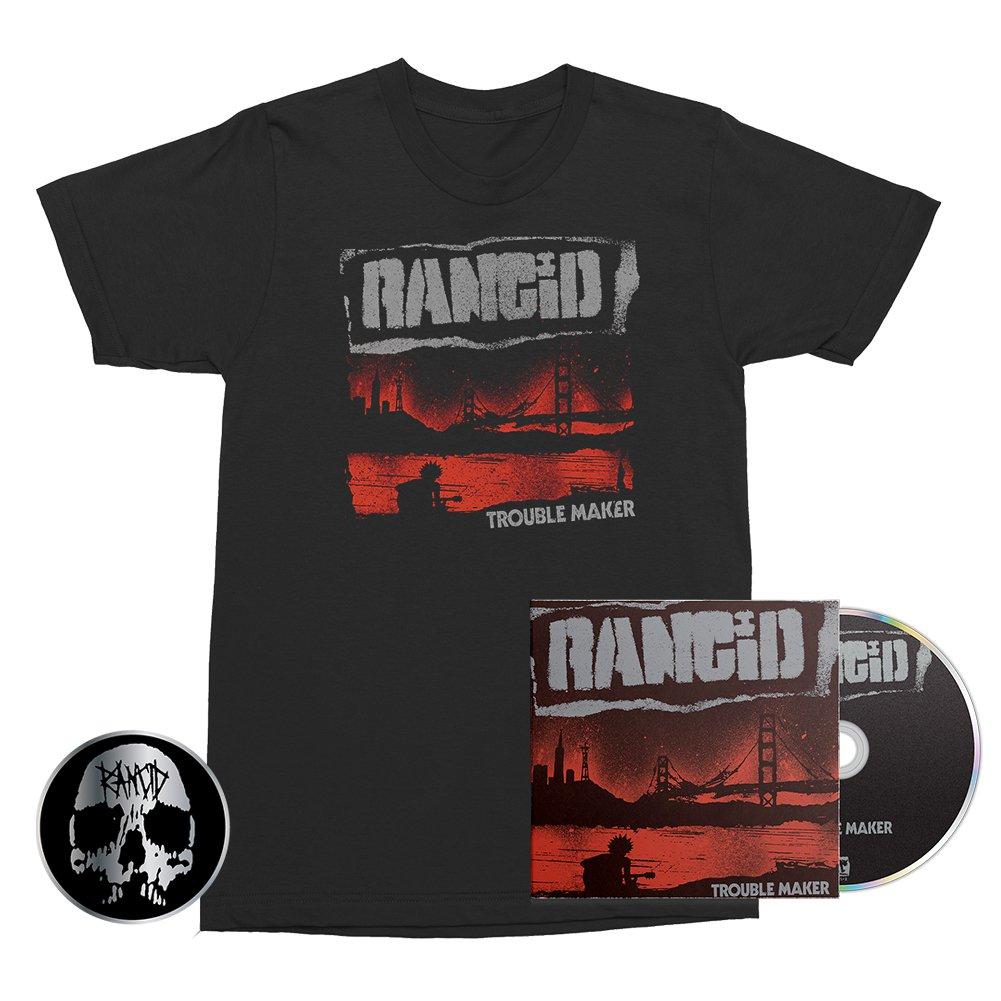 Trouble Maker CD + Album Cover Tee (Black) + Skull Pin Bundle