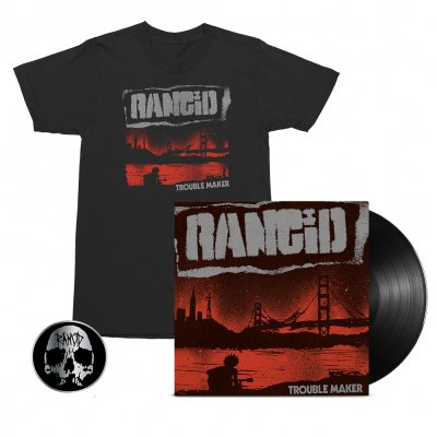 rancid - Trouble Maker LP (Black) + Album Cover Tee (Black) + Skull Pin Bundle