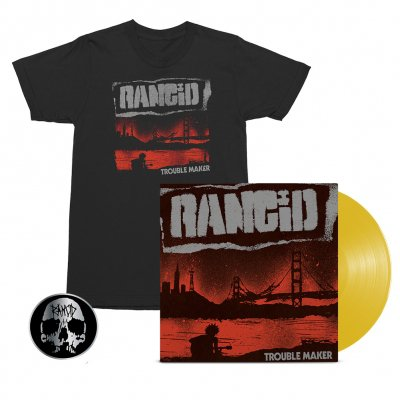 rancid - Trouble Maker LP (Gold) + Album Cover Tee (Black) + Skull Pin Bundle