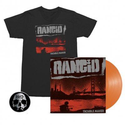 Rancid - Trouble Maker LP (Orange) + Album Cover Tee (Black) + Skull Pin Bundle