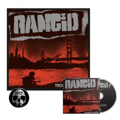 rancid - Trouble Maker CD + Signed Screen Print + Skull Pin Bundle