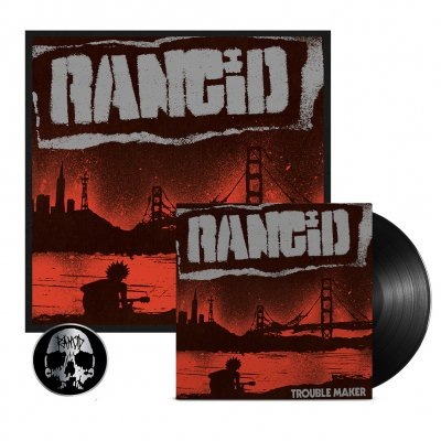 rancid - Trouble Maker LP (Black) + Signed Screen Print + Skull Pin Bundle