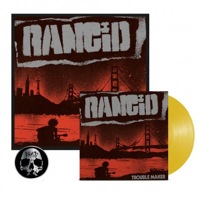 rancid - Trouble Maker LP (Gold) + Signed Screen Print + Skull Pin Bundle