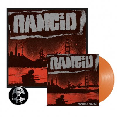 rancid - Trouble Maker LP (Orange) + Signed Screen Print + Skull Pin Bundle