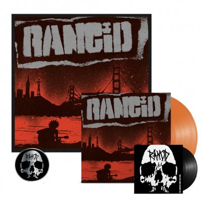 "rancid - Trouble Maker LP (Orange) + 7"" + Signed Screen Print + Skull Pin Bundle"