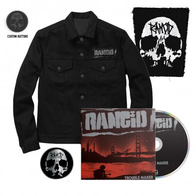 Rancid - Trouble Maker CD + Denim Jacket + Skull Back Patch + Skull Pin Bundle