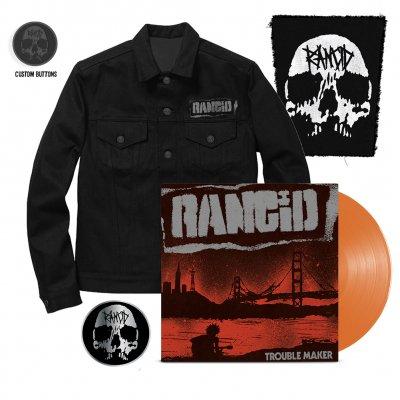Rancid - Trouble Maker LP (Orange) + Denim Jacket + Skull Back Patch + Skull Pin Bundle