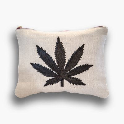 ziggy-marley - Cannabis Clutch Purse - Natural Canvas/Black Leaf