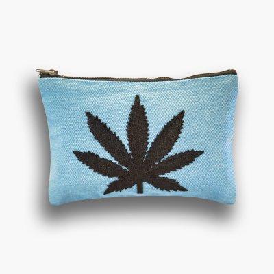 ziggy-marley - Cannabis Clutch Purse - Blue Denim/Black Leaf
