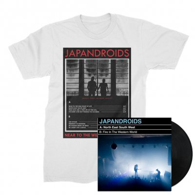 "japandroids - North East South West 7"" (Black) + NTTWHOL Tee (White) Bundle"