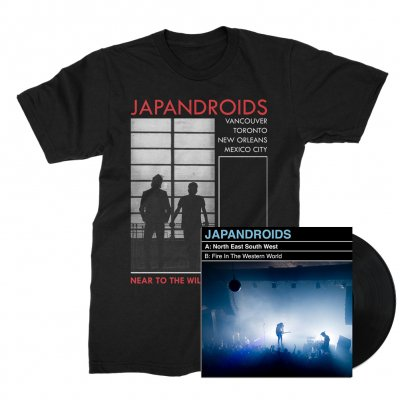 "japandroids - North East South West 7"" (Black) + NTTWHOL Tee (Black) Bundle"