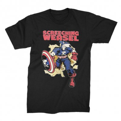 screeching-weasel - Captain Weasel T-Shirt (Black)