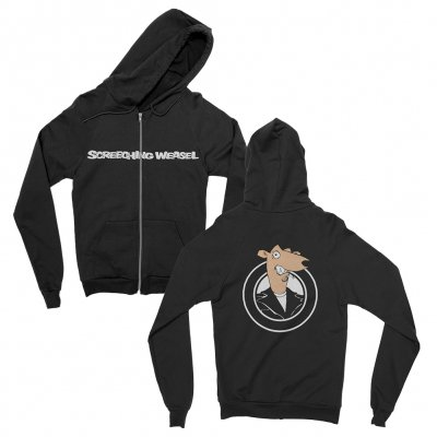 screeching-weasel - Color Weasel Zip-Up Hoodie (Black)