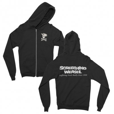 screeching-weasel - Suffering Fools Zip-Up Hoodie (Black)