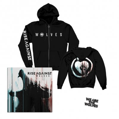 rise-against - Wolves CD + We Are The Wolves Hoodie + Enamel Pin Bundle