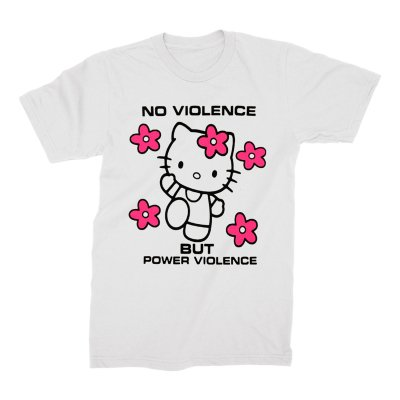 acxdc - Power Violence Kitty T-shirt (White)