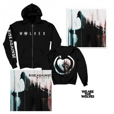 rise-against - Wolves CD + We Are The Wolves Hoodie + Wolves Lithograph (Signed) + Enamel Pin Bundle