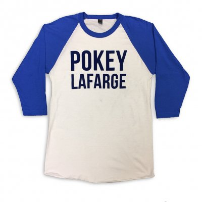 pokey-lafarge - Flocked Raglan (White/Blue)