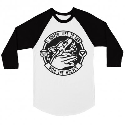 the-ghost-inside - Run With Wolves Baseball Tee (White/Black)