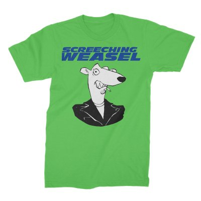 screeching-weasel - Classic Weasel Head T-Shirt (Neon Green)