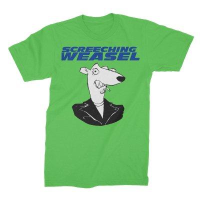 screeching-weasel - Classic Weasel Head T-Shirt (Neon Green)