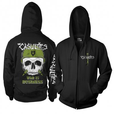 the-casualties - War Skull Zip Up Hoodie (Black)