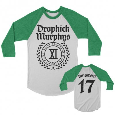 dropkick-murphys - Short Stories Crest Raglan (Heather Kelly/White)