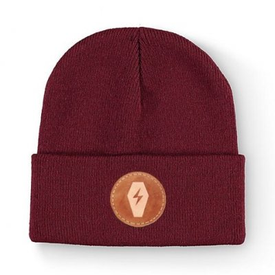 this-wild-life - Leather Bolt Patch Beanie (Burgundy)