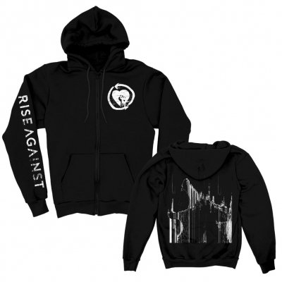 rise-against - Wolves Static Zip Up Hoodie (Black)