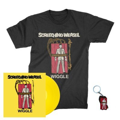 screeching-weasel - Wiggle LP (Yellow) + Wiggle T-Shirt (Black) + Key Chain Bundle