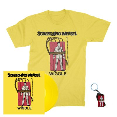 screeching-weasel - Wiggle LP (Yellow) + Wiggle T-Shirt (Yellow) + Key Chain Bundle