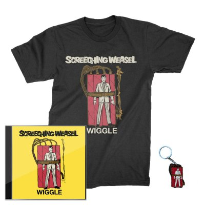screeching-weasel - Wiggle CD (Signed) + Wiggle T-Shirt (Black) + Key Chain Bundle