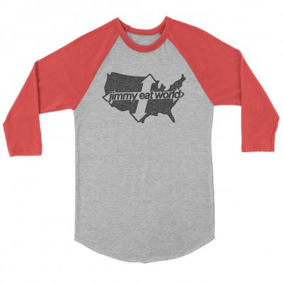 jimmy-eat-world - Across America Distressed Raglan (Gray/Red)