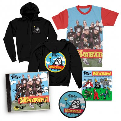 the-aquabats - The Fury Of The Aquabats CD (Signed) + Fury Band Photo Tee + Fury Bat Zip-Up Hoodie + Patch + Enamel Pin Set Bundle
