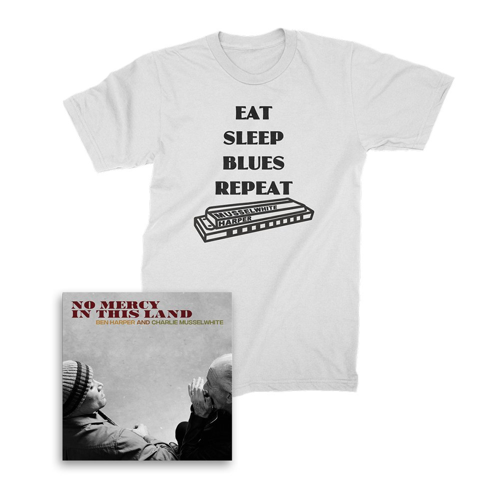 IMAGE | No Mercy In This Land CD + Harmonica Tee (White) Bundle