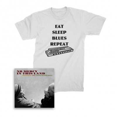 ben-harper-and-charlie-musselwhite - No Mercy In This Land CD + Harmonica Tee (White) Bundle