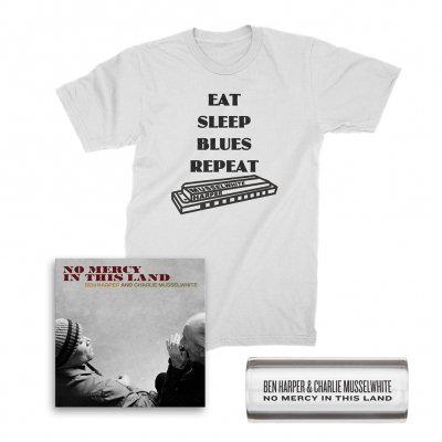 ben-harper-and-charlie-musselwhite - No Mercy In This Land CD + Tee (White) + Glass Guitar Slide Bundle