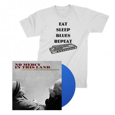 ben-harper-and-charlie-musselwhite - No Mercy In This Land LP (Blue) + Harmonica Tee (White) Bundle