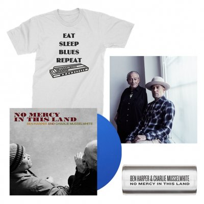 ben-harper-and-charlie-musselwhite - No Mercy In This Land LP (Blue) + Tee (White) + Glass Guitar Slide + Signed Lithograph Bundle