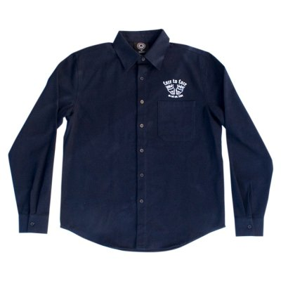 face-to-face - Skull Crown Flannel Button Down (Navy)