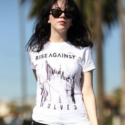 5980896c Womens Wolves Bold Tee (White) | Rise against merch
