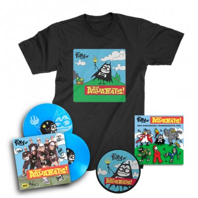 the-aquabats - The Fury Of The Aquabats Remastered 2xLP (Blue/Signed) + Fury Bat '97 Tee + Patch + Enamel Pin Set Bundle