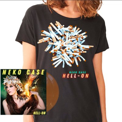 neko-case - Hell-On 2xLP (Brown) + Tee (Unisex) Bundle